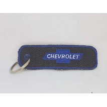 La Ruotante 1 Portachiavi Compatibile con Auto Chevrolet Rettangolo (Ricamato su Jeans)