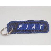 La Ruotante 1 Portachiavi Compatibile con Auto Fiat Rettangolo (Ricamato su Jeans)