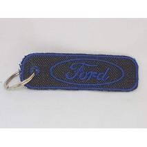 La Ruotante 1 Portachiavi Compatibile con Auto Ford Rettangolo (Ricamato su Jeans)